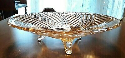 "VINTAGE Pink Swirl Depression Glass 10"" Footed FRUIT BOWL Dish"