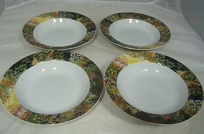 Sakura Vincent Van Gogh Rimmed Soup Bowls Wildflowers Lot of 4