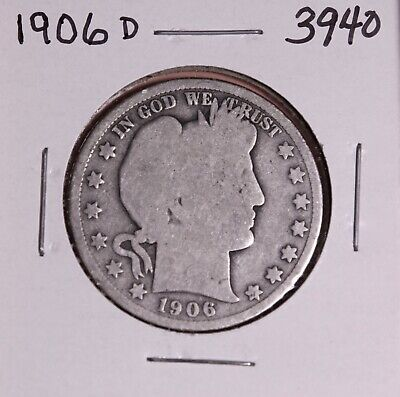 1906 D Silver Barber Half Dollar #3940, Good - Free Shipping