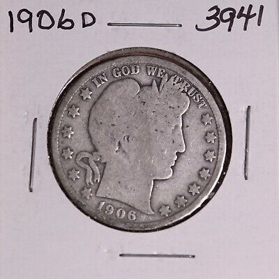 1906 D Silver Barber Half Dollar #3941, Good - Free Shipping