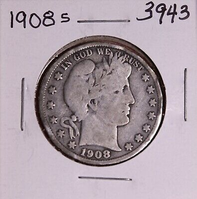 1908 S Silver Barber Half Dollar #3943, Very Good - Rim Dents - Free Shipping