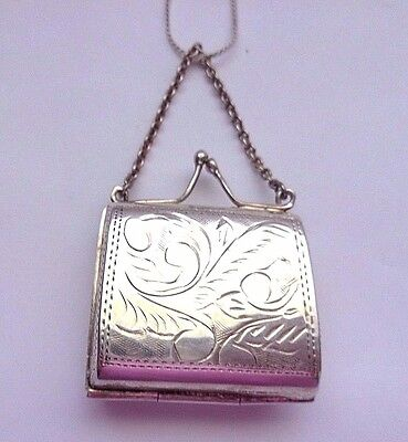 Antique Victorian Sterling Silver Pill Box Purse Locket Bag On Chain c.1900's