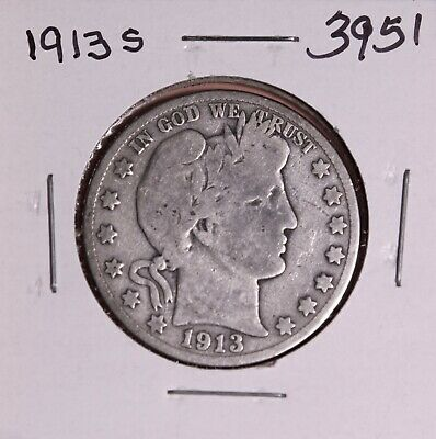 1913 S Silver Barber Half Dollar #3951, Very Good - Free Shipping