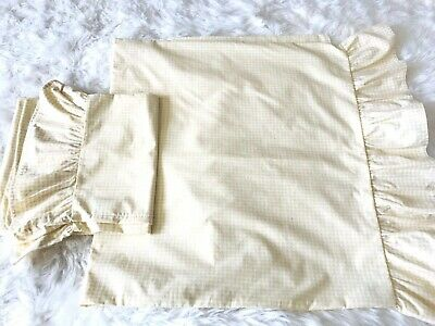 Yellow & White RUFFLED Check DESIGNS Pillow Shams Set 2 KING Size Pair EUC VTG