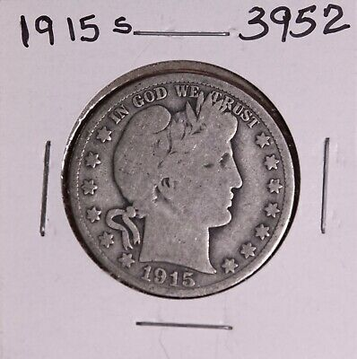 1915 S Silver Barber Half Dollar #3952, Good - Free Shipping