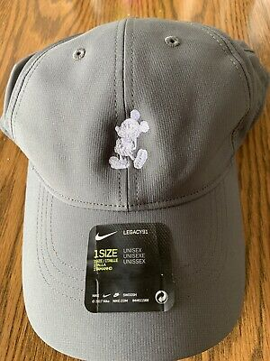b9d1f48b Disney Parks Nike Legacy91 Dri-fit Mickey Mouse Embroidered hat Adult- Gray  RARE