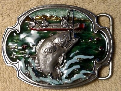 Vintage Pewter Belt Buckle Enamel Bass Fishing Williams Oregon 1984 Siskiyou