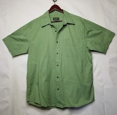 bc87e2c9 Eddie Bauer Relaxed Fit Button Up Shirt Sz L - Green Short Sleeve Casual  Outdoor