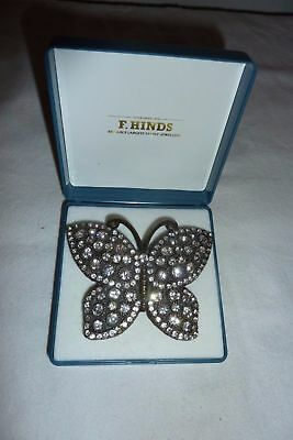 Stunning Vintage style large rhinestone encrusted butterfly belt buckle .
