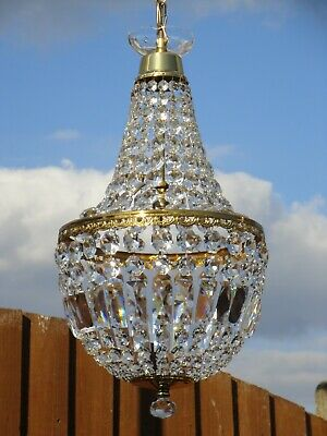"Very Fine, Large, Vintage French Lead Crystal, 12"" Brass Empire Bag Chandelier."
