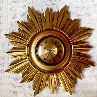 Art Deco Sunburst Wall Clock, Gilted Wood, Made In France Number 54647 Working