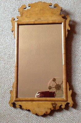 Antique Early Victorian Chippendale Style Walnut Fretwork Wall Mirror C1850 Vgc