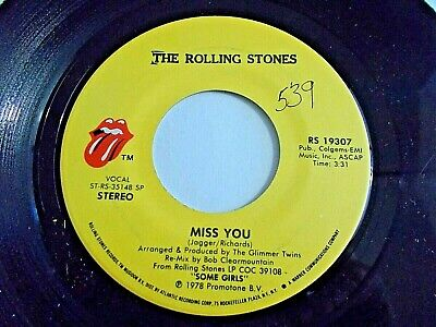 The Rolling Stones Miss You / Far Away Eyes 45 1978 Some Girls Vinyl Record