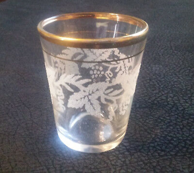 """Beautiful Etched Leaves Shot Glass with Gold Rim 2 7/16"""" Tall"""