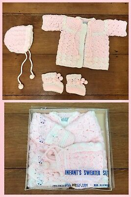 1950s SWEATER BOOTIES BONNET Handmade Glo Knit Acrylic Pink Baby Infant Size