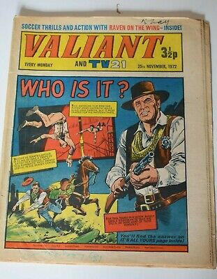 VALIANT And TV 21 Comic 25th November 1972 Vintage Collectors Who Is It?