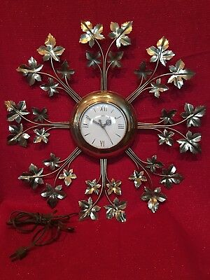 Antique Mid Century Sessions Clock Co Electric Starburst Style Wall Working