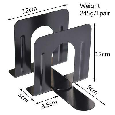 """Non Skid Bookends Solid Metal 120""""mm High One Pair of 2 Bookends Black-Metal"""