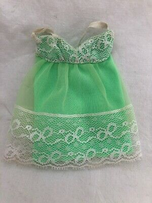 Vintage Barbie Doll Francie Skipper Lime GREEN White Lace BABYDOLL Nightgown ?