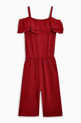 Next Girls Open Shoulder Red Sparkle Culotte/Jumpsuit Age 9 Years BNWT Tag £22