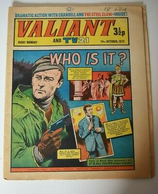VALIANT And TV 21 Comic 14th October 1972 Vintage Collectors Who Is It?