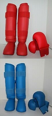 Karate//Taekwondo Gloves//Shin Instep Guards Flex PU Quality Blue,Red Sz XXS XXL