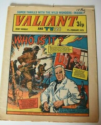 VALIANT And TV 21 Comic 17th February 1973 Vintage Collectors Who Is It?