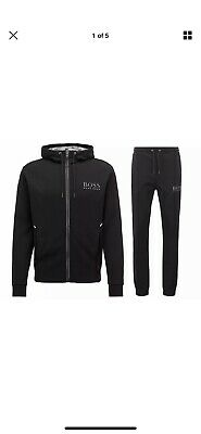 Hugo Boss New Black Zipped Hooded Tracksuit Top and Bottoms BNWT Size XXLarge