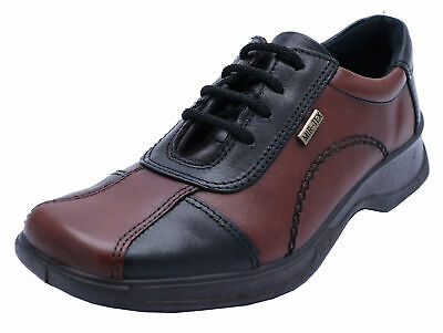 Ladies Cotswold Icomb Leather Waterproof Black/Brown Lace-Up Work Shoes