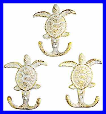 """Rustic WHITE Sea Turtle Cast Iron Wall Hook 4 3/4"""" Set Of 3 FREE SHIPPING"""