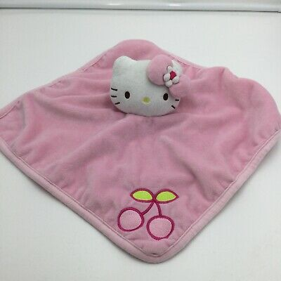 Sanrio Hello Kitty Pink Cherry Baby Security Blanket Lovey Polka Dots