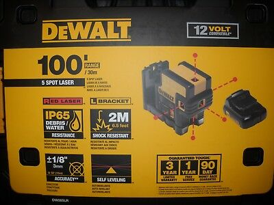 DeWALT DW085LR 12-Volt 5-Spot 100-Ft Range Magnetic Cordless Red Beam Laser NEW