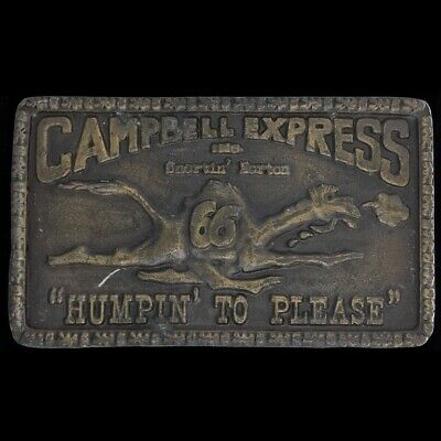 Vtg Humping To Please Camel Campbell 66 Express Trucking Trucker Belt Buckle