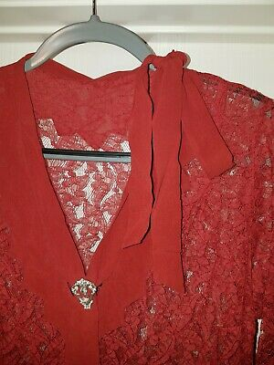 d9d4f25685c Vintage 30s  1940s Rust Red Brown Gown Formal Medium Large Lace panels  AS  IS