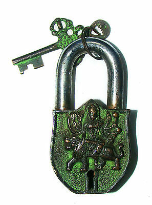 An Unusual CHARISMATIC Brass made HOLY OM DURGA FIGURE PADLOCK with 2 keys India