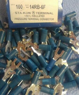 100 Sta-Kon 14RB-6X Ring Terminal Connector Insulated #6 Bolt 18-14  awg T&B
