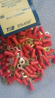 100 Sta-Kon 18RA-8 Ring Terminal Connector Insulated #8 bolt 22-16 awg T&B