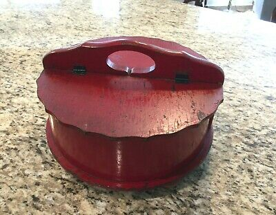 Antique Red Wooden Round Sewing/Knitting Box 2 Hinged Lid Compartments & Handle!