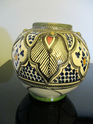 Vintage Moroccan Turkish Persian Islamic Filigree Hand Painted Art Pottery Vase!