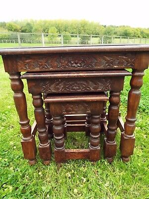 Vintage Solid & Sturdy Carved Hard Wood Nest of Three Tables