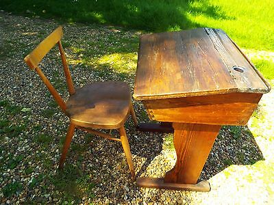 Antique Victorian Pitch Pine Childs School Desk And Ercol School Chair