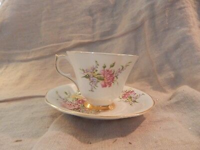 Vintage Queen Anne Bone China Floral Teacup and Saucer