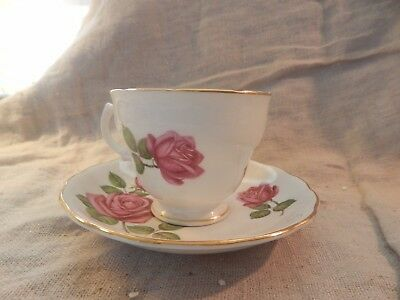 Vintage Royal Vale Floral Teacup and Saucer Rose Bone China