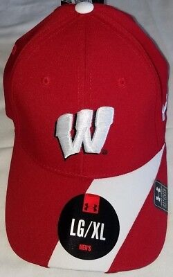 new product faa91 8925a  1235 L XL Wisconsin Badgers Red White Under Armour Heat Gear Hat-