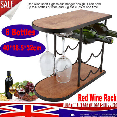6 Bottles Red Wine Rack Red Wine Holder Shelf Stand with Glass Cups Hanger AU