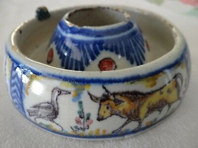 Rare Antique Spanish Pottery Talavera Inkwell Landscape Animals 18th Century