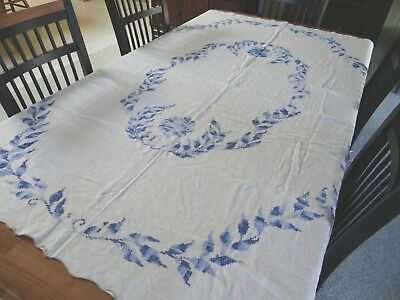 """Antique Hand Embroidered Cotton Table cloth Blue leaf Design  55"""" x 74"""""""