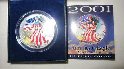 2001 Colorized American Eagle Walking Liberty 1 Oz Fine Silver In Box With COA