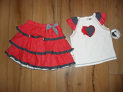 Sarah Louise Girls White/Red/Blue 2 Piece Skirt & T-Shirt Outfit Set Age 7Yrs