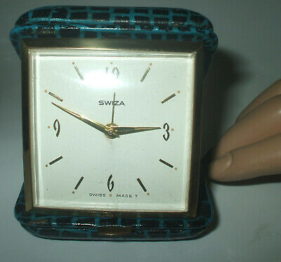 Vintage Swiza Wind Up Swiss Made  Leather Case Travel Alarm Clock  Fully Working
